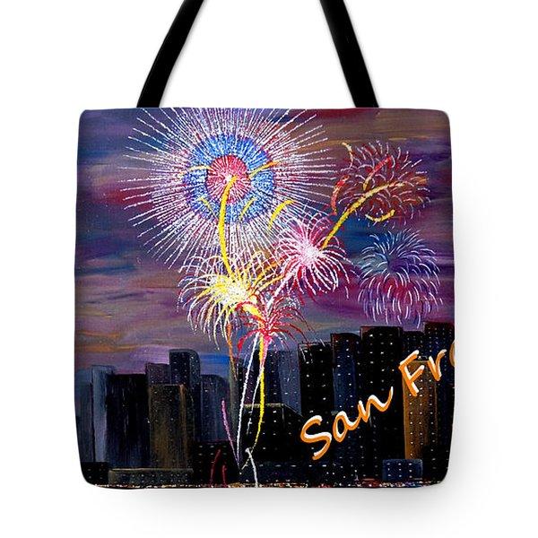 San Francisco Bay City Celebration Tote Bag by Mark Moore