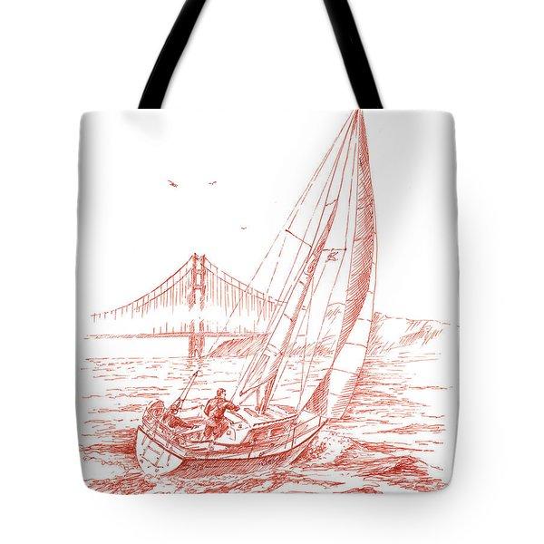 San Francisco Bay Sailing To Golden Gate Bridge Tote Bag