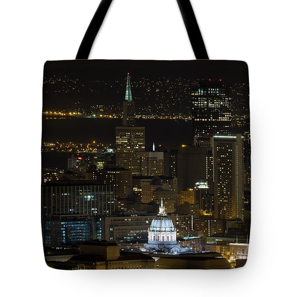 San Francisco Cityscape With City Hall At Night Tote Bag by David Gn