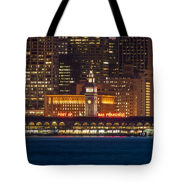 San Francisco Ferry Building At Night.  Tote Bag
