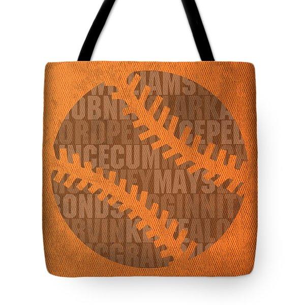 San Francisco Giants Baseball Typography Famous Player Names On Canvas Tote Bag
