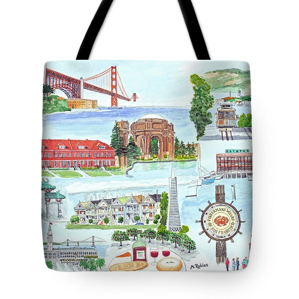 San Francisco Highlights Montage Tote Bag by Mike Robles