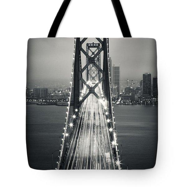 San Francisco - Oakland Bay Bridge Bw Tote Bag
