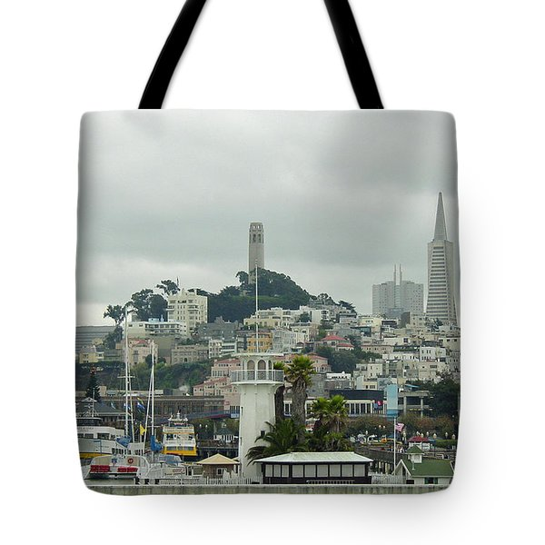 San Francisco View From Fishermans Wharf Tote Bag by Suzanne Gaff
