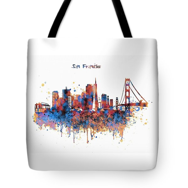 San Francisco Watercolor Skyline Tote Bag by Marian Voicu