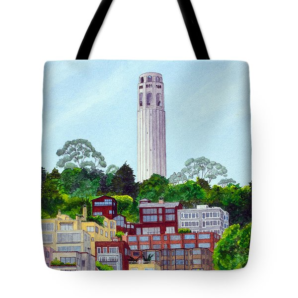 San Francisco's Coit Tower Tote Bag by Mike Robles