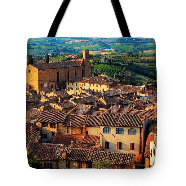 San Gimignano From Above Tote Bag by Inge Johnsson
