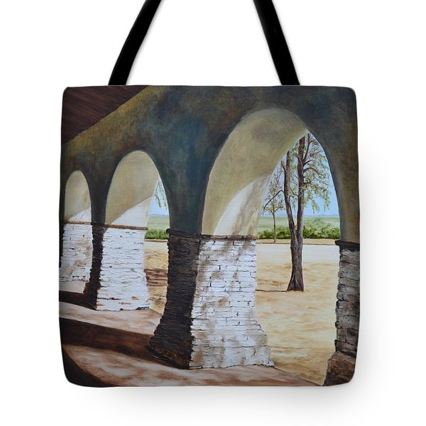 San Juan Bautista Mission Tote Bag by Mary Rogers