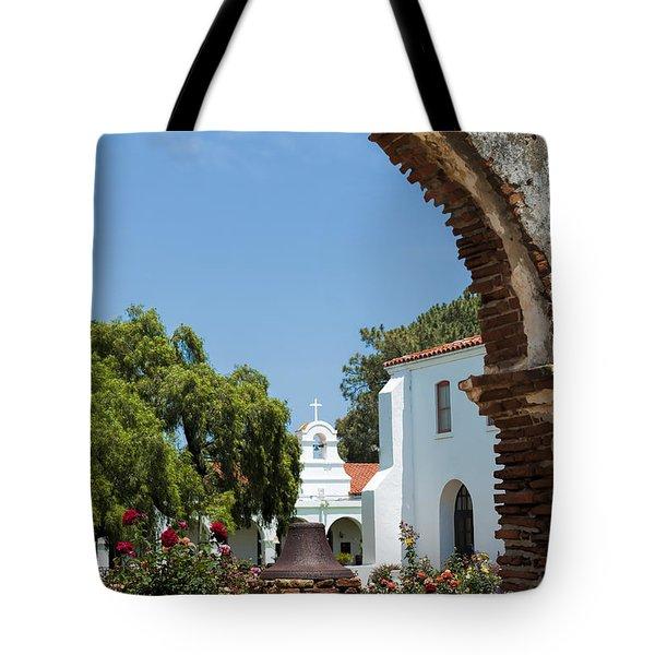 San Luis Rey - Mission Church Tote Bag by Sandra Bronstein