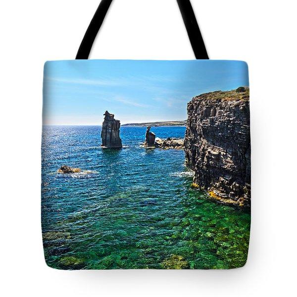 San Pietro Island - Le Colonne Tote Bag by Antonio Scarpi