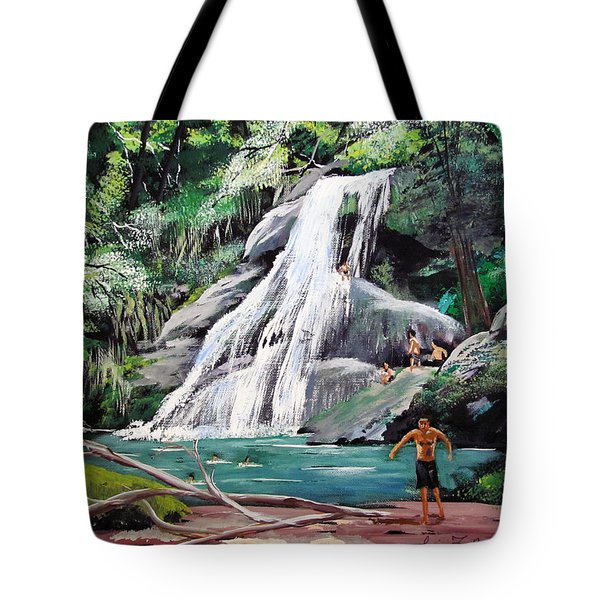 San Sebastian Waterfall Tote Bag by Luis F Rodriguez