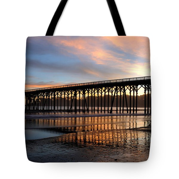 Tote Bag featuring the photograph San Simeon Pier by Vivian Christopher