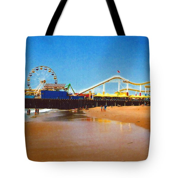 Tote Bag featuring the photograph Sana Monica Pier by Daniel Thompson