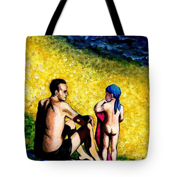 Sand Beach Father And Son Tote Bag by Jingfen Hwu