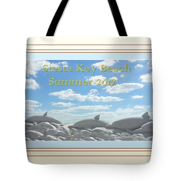 Sand Dolphins - Digitally Framed Tote Bag by Susan Molnar