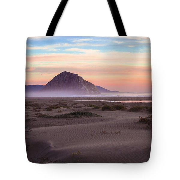 Sand Dunes At Sunset At Morro Bay Beach Shoreline  Tote Bag by Jerry Cowart