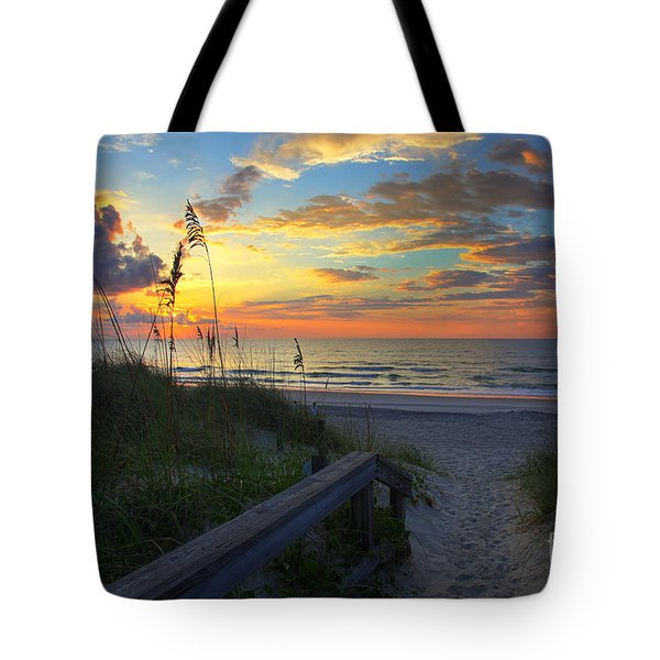 Sand Dunes On The Seashore At Sunrise - Carolina Beach Nc Tote Bag