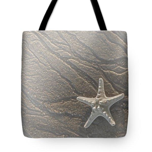 Sand Prints And Starfish II Tote Bag by Susan Candelario