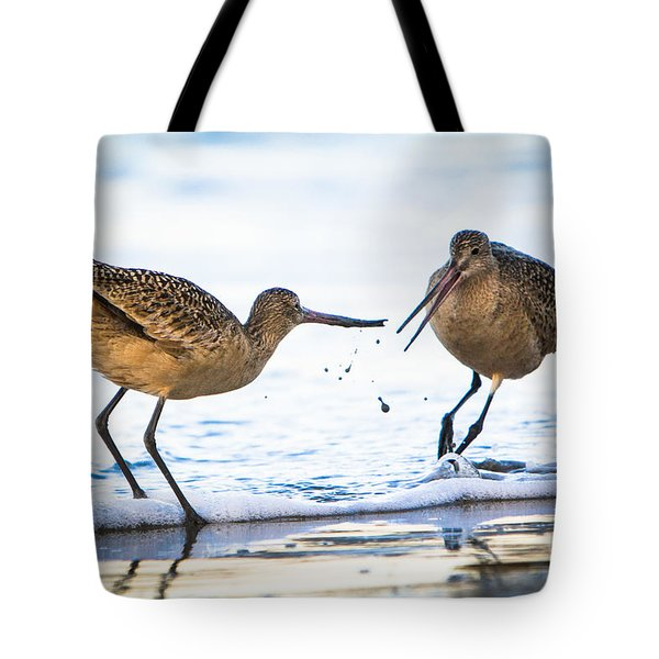 Sanderlings Playing At The Beach Tote Bag by John Wadleigh