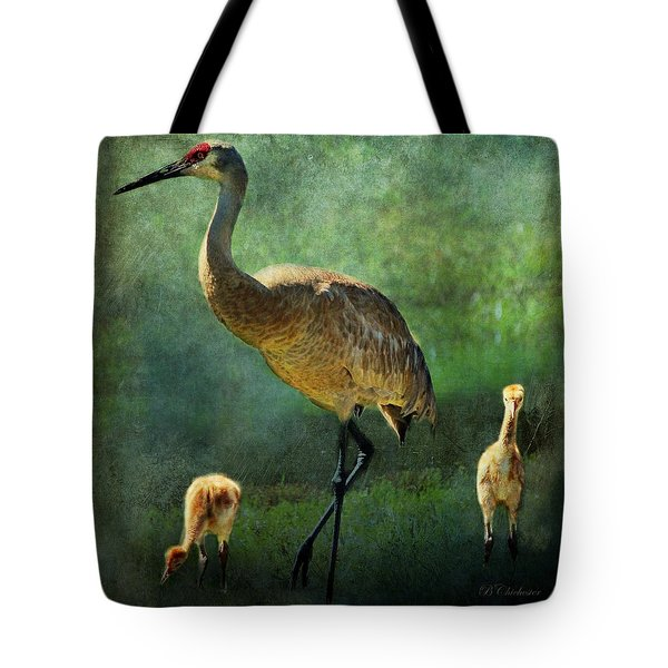Sandhill And Chicks Tote Bag