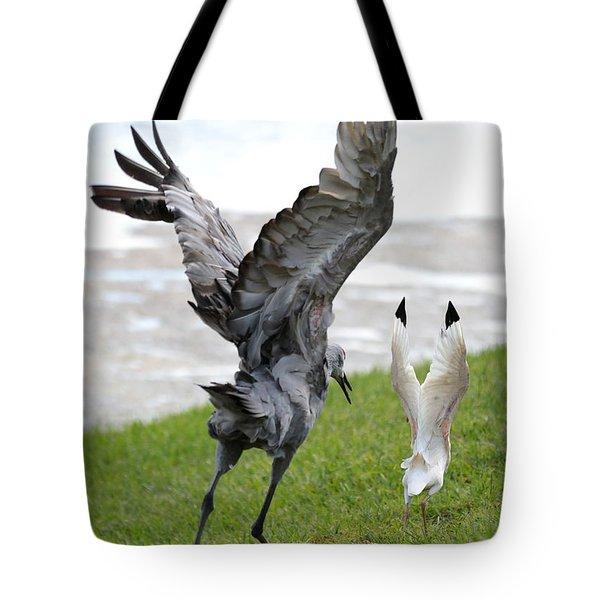 Sandhill Chasing Ibis Tote Bag