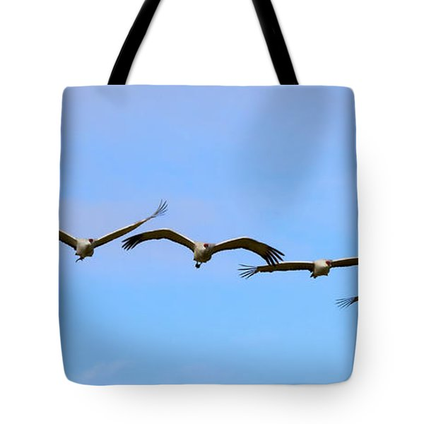 Sandhill Crane Flight Pattern Tote Bag