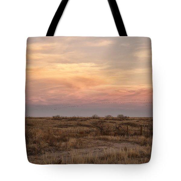 Sandhill Cranes At Sunset Tote Bag