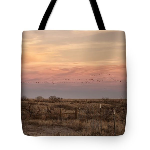 Sandhill Cranes At Sunset Tote Bag
