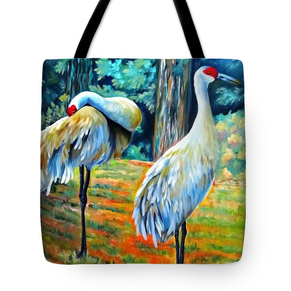 Sandhill Cranes At Twilight Tote Bag
