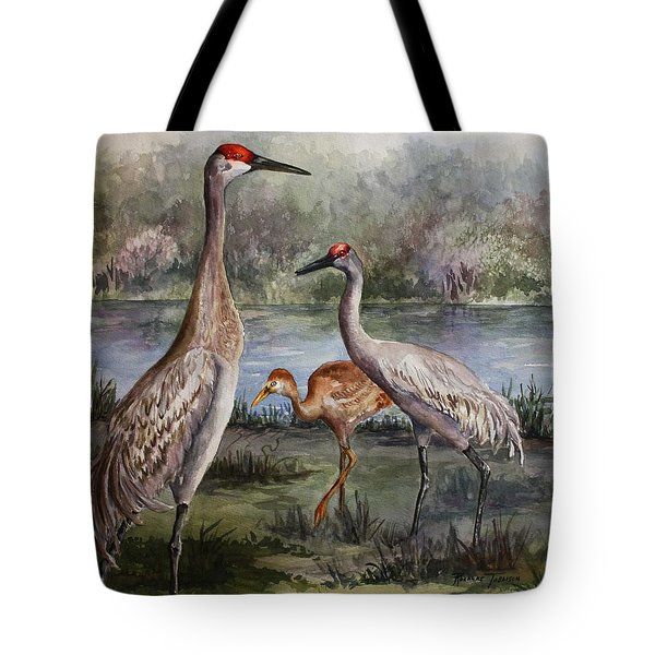 Sandhill Cranes On Alert Tote Bag