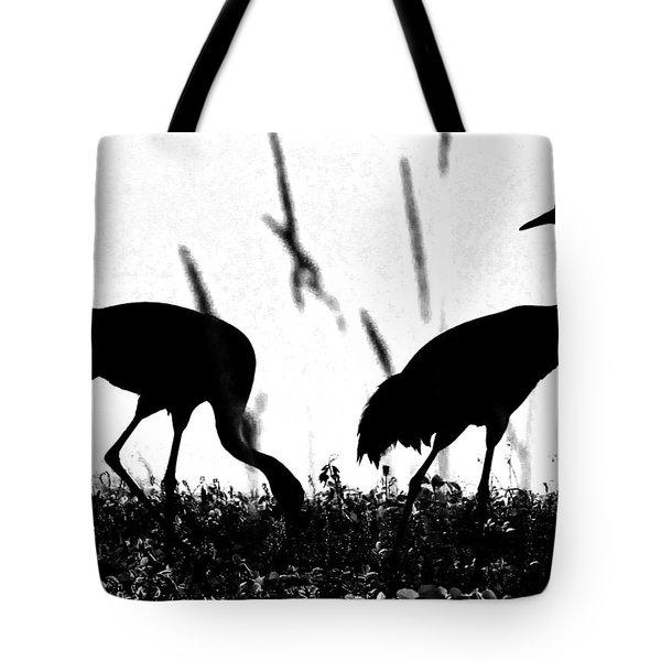 Sandhill Cranes In Silhouette Tote Bag