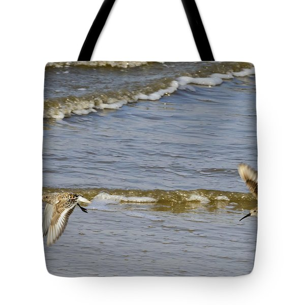 Sandpipers Flying Down The Beach On Jekyll 2013 Tote Bag