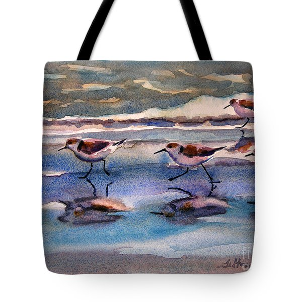 Sandpipers Running In Beach Shade 3-10-15 Tote Bag