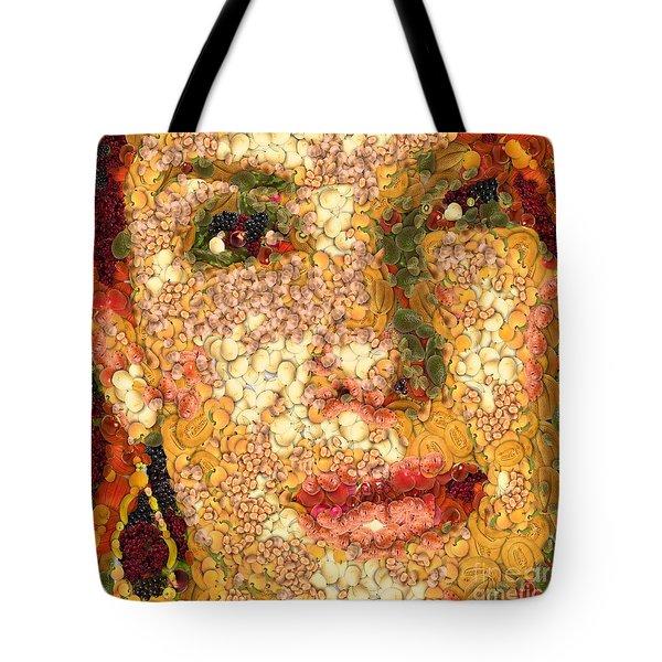 Tote Bag featuring the digital art Sandra Bullock In The Way Of Arcimboldo by Dragica  Micki Fortuna