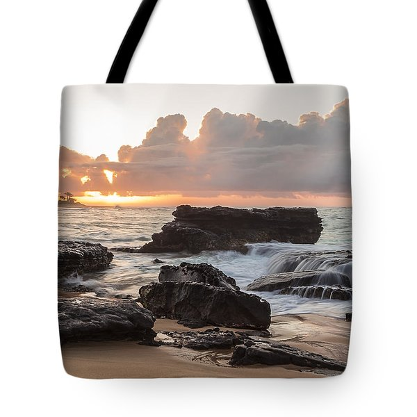 Sandy Beach Sunrise 6 Tote Bag by Leigh Anne Meeks