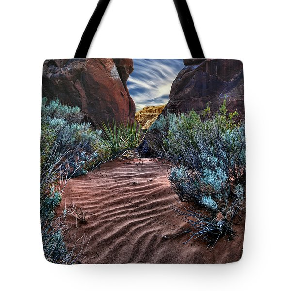 Sandy Trail Arches National Park Tote Bag by Gary Warnimont