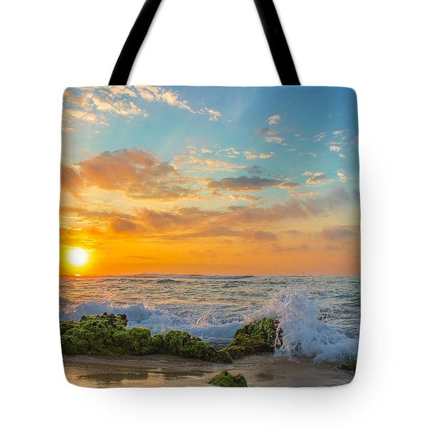 Sandy Beach Sunrise 3 Tote Bag by Leigh Anne Meeks