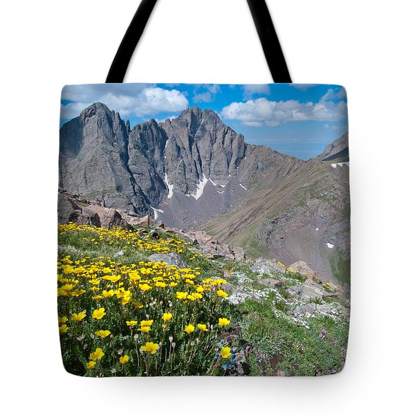 Sangre De Cristos Crestone Peak And Wildflowers Tote Bag