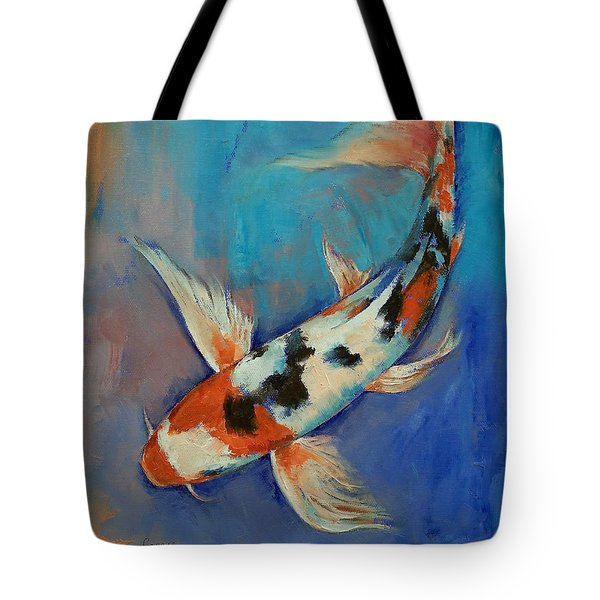 Sanke Butterfly Koi Tote Bag by Michael Creese