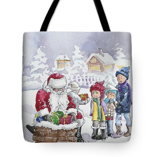 Santa And Children Tote Bag