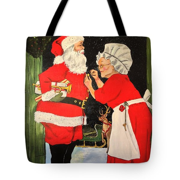 Tote Bag featuring the painting Santa And Mrs by Alan Lakin