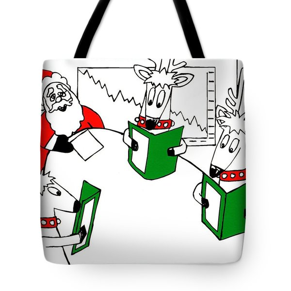 Santa And Reindeer Conference Tote Bag by Genevieve Esson