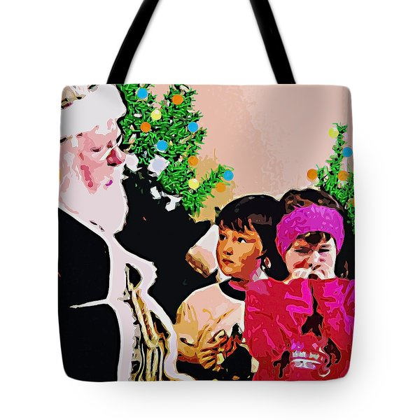 Santa And The Kids Tote Bag