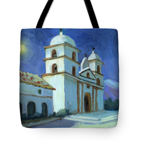 Santa Barbara Mission Moonlight Tote Bag