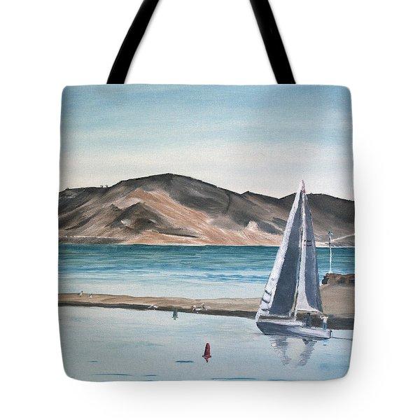 Tote Bag featuring the painting Santa Barbara Sailing by Ian Donley