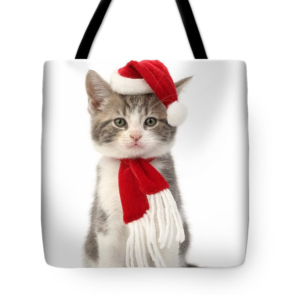 Santa Cat Tote Bag by Greg Cuddiford