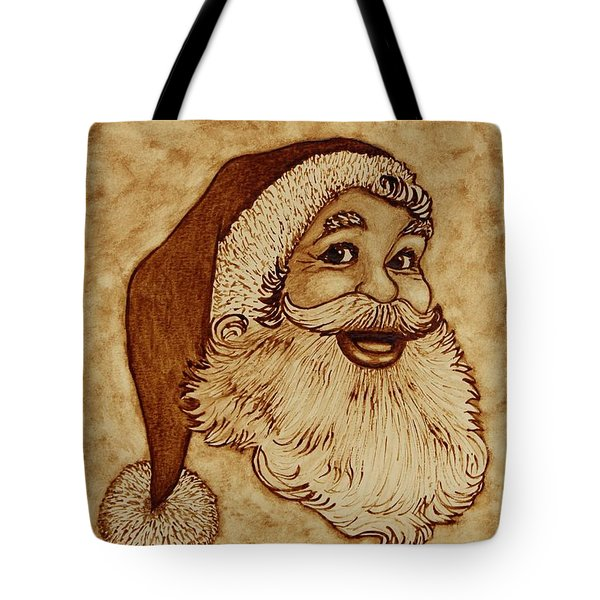Santa Claus Joyful Face Tote Bag by Georgeta  Blanaru