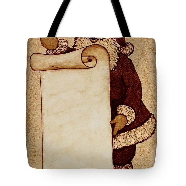 Tote Bag featuring the painting Santa Claus Wishlist Original Coffee Painting by Georgeta  Blanaru
