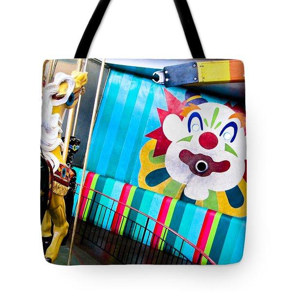 Tote Bag featuring the photograph Santa Cruz Boardwalk Carousel by Shane Kelly
