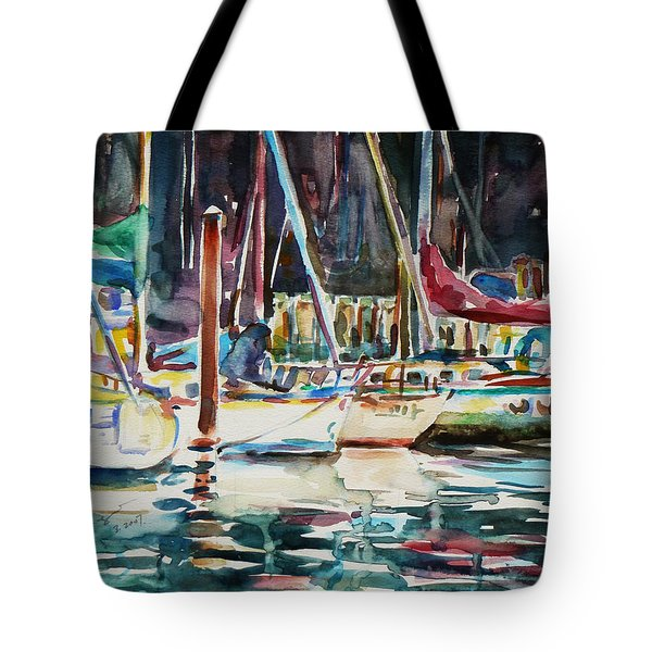 Tote Bag featuring the painting Santa Cruz Dock by Xueling Zou